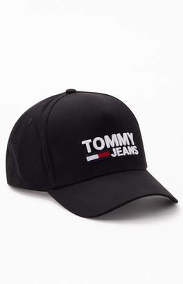 Tommy Jeans Black Logo Snapback Hat