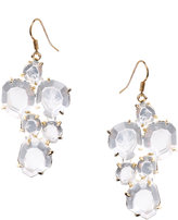 18ct Gold Plated Clear Rock Crystals Cluster Earrings (+)