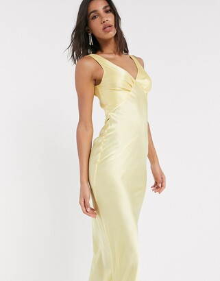 ASOS DESIGN satin bias midi cami slip dress in yellow
