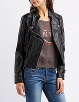 Charlotte Russe Fringed Faux Leather Moto Jacket