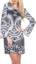 WHITE MARK White Mark Eleanor Long Sleeve Paisley Sheath Dress