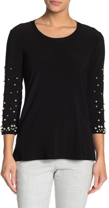 Joseph Ribkoff Mock Pearl Embellished 3/4 Sleeve Top