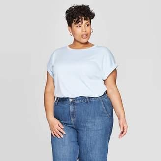 Ava & Viv Women's Plus Size Cuffed Short Sleeve Crewneck T-Shirt