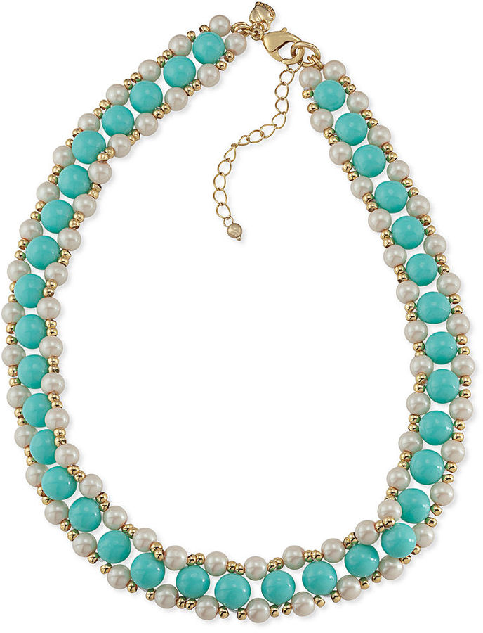 Carolee Necklace, Gold-Tone Beaded Glass Pearl Woven Necklace