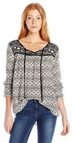 Jolt Women's Twin Print 3/4 Sleeve Peasant Blouse with Front Neck Ties