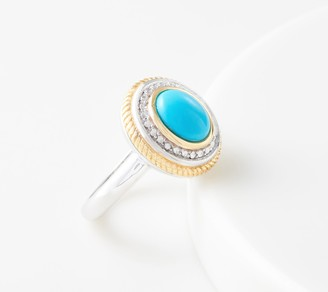 Cabochon Gemstone Ring, Sterling Silver & 14K Gold Plated