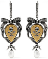 Alexander McQueen Palladium-tone, Pearl And Swarovski Crystal Earrings - Gold
