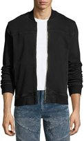 True Religion Varsity Over-Dyed French Terry Bomber Jacket, Black