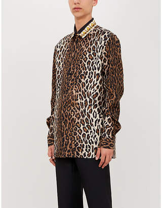 Versace Regular-fit leopard-print silk-twill shirt