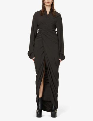 Rick Owens Wrap-over V-neck crepe maxi dress