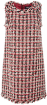 Paule Ka Sleeveless Fringe Tweed Trapeze Dress