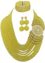 Africanbeads 10Rows Lemon Yellow Nigerian Jewelry Set,Crystal Necklace,Wedding Gift,Bridesmaid Necklace