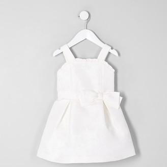 River Island Mini girls White jacquard flower girl dress