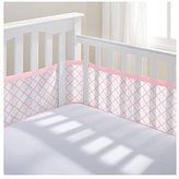 BreathableBaby Mesh Printed Crib Liner, Pink/White Clover by