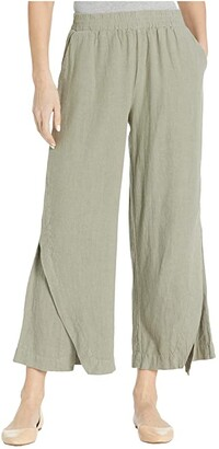 Mod-o-doc Linen Rayon Cropped Pants with Crossover Panels (Cactus) Women's Casual Pants