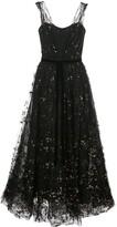 Marchesa flocked glitter tulle midi dress