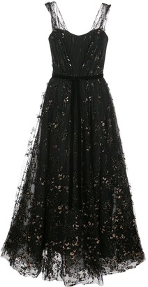 Marchesa flocked glitter tulle midi dress
