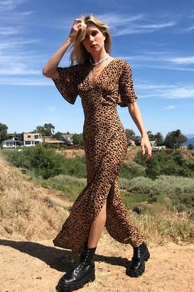 Nasty Gal Womens I Want Slit All Leopard Print Maxi Dress - Brown