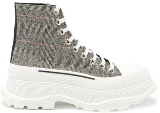 Alexander McQueen Tread Slick Exaggerated-sole Canvas Boots - Multi