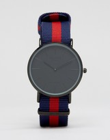 Reclaimed Vintage Stripe Canvas Watch With Black Dial