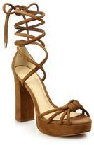 Alexandre Birman Jannele Knotted Suede Ankle-Wrap Block-Heel Sandals