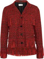Saint Laurent Fringed leopard-print suede jacket