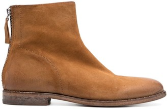 Moma Leather Zip Detail Ankle Boots