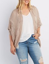 Charlotte Russe Plus Size Mixed Knit Cocoon Cardigan