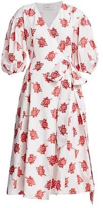 Erdem Marguerite Rose Cotton Fil Coupe Puff Sleeve Midi Wrap Dress