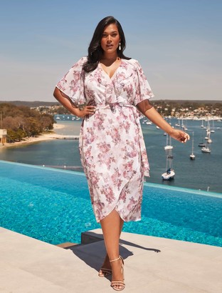 Forever New Felicite Curve Flutter Sleeve Midi Dress - ROSY BOUQUET - 16