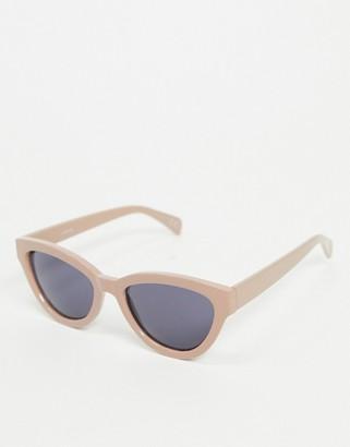 ASOS DESIGN recycled cat eye sunglasses in beige
