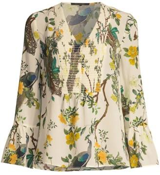 Kobi Halperin Maurif Smocked Silk Blouse
