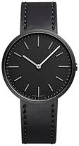 Uniform Wares M37skk01corblk1818r01 M37 Carbon Plated Leather Strap Watch, Black