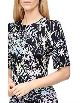 Calvin Klein Printed Dress With Flare Hem