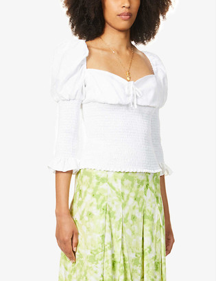 Reformation Haven shirred linen top