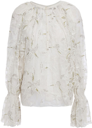 Antik Batik Adana Sequin-embellished Embroidered Tulle Blouse