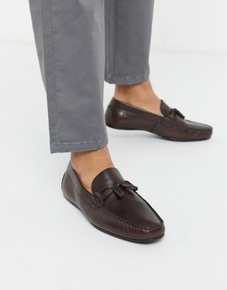 ASOS DESIGN driving shoes in brown soft leather
