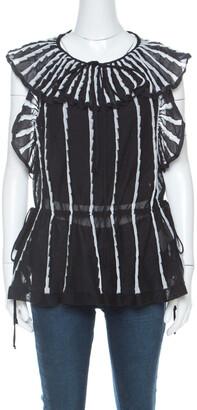 M Missoni Black & White Stripe Knit Peplum Top M