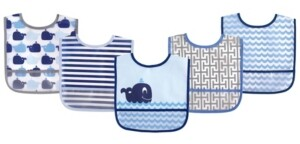 Luvable Friends Waterproof Bibs, 5-Pack, One Size