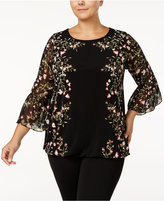 Alfani Plus Size Floral-Print Bell-Sleeve Blouse, Created for Macy's