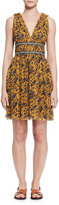 Etoile Isabel Marant Balzan Sleeveless Floral Silk Dress, Yellow