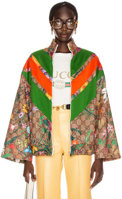 Gucci GG Flora Zip Up Jacket in Camel & Brown   FWRD