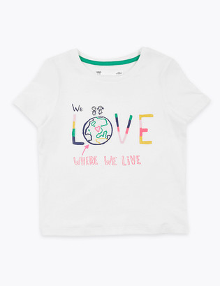 Marks and Spencer Cotton World Love Slogan T-Shirt (2-7 Yrs)