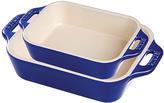 Staub Dark Blue Ceramic Two-Piece Rectangular Baking Dish Set