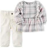 Carter's 2-Pc. Plaid Flannel Top and Corduroy Pants Set, Baby Girls (0-24 months)
