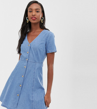 Asos Tall DESIGN Tall denim tea dress with mock horn buttons in midwash blue