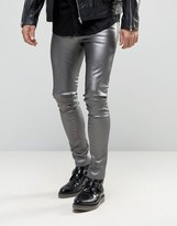 Asos Meggings In Metallic Gray