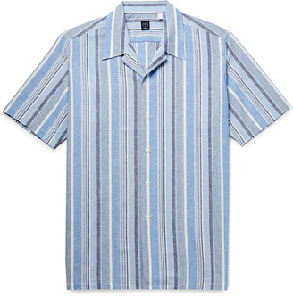 Beams Camp-Collar Striped Cotton And Linen-Blend Shirt