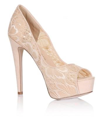 Little Mistress Footwear Nude Floral Lace Peep Toe Heels