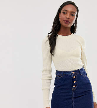 Asos Tall DESIGN Tall rib knit sweater in natural look yarn-Stone
